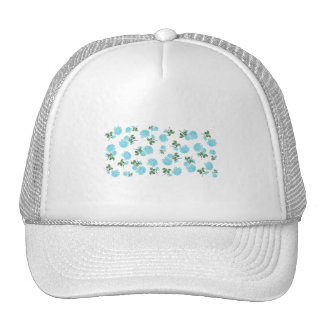 Baby Blue Roses floral pattern on White Mesh Hats