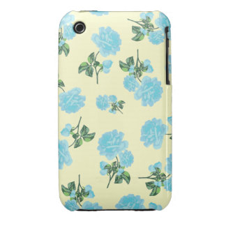 Baby Blue Roses pretty floral pattern on cream Case-Mate iPhone 3 Cases