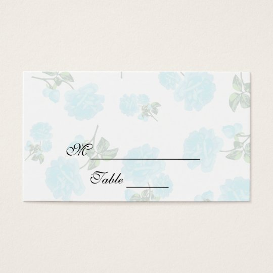 Baby Blue roses white Flower pattern Placecards Business Card