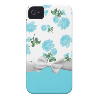 Baby Blue Roses with white ribbon and bow iPhone 4 Case-Mate Case
