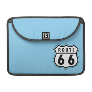 Baby Blue Route 66 sign MacBook Pro Sleeves