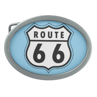 Baby Blue Route 66 sign Oval Belt Buckle
