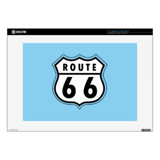 """Baby Blue Route 66 sign Decal For 15"""" Laptop"""