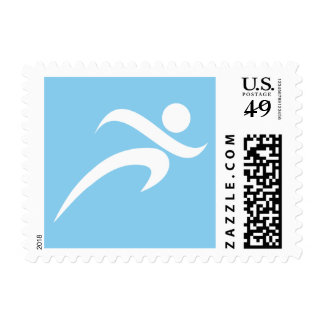 Baby Blue Running Postage Stamps