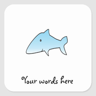 Baby blue shark square sticker