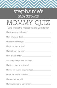 Baby Blue Shower Who Knows Mommy Best Quiz