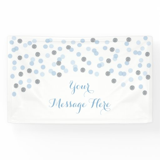 Baby Blue & Silver Confetti Baby Shower Banner