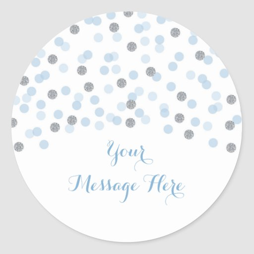 Baby Blue & Silver Confetti Baby Shower Classic Round Sticker