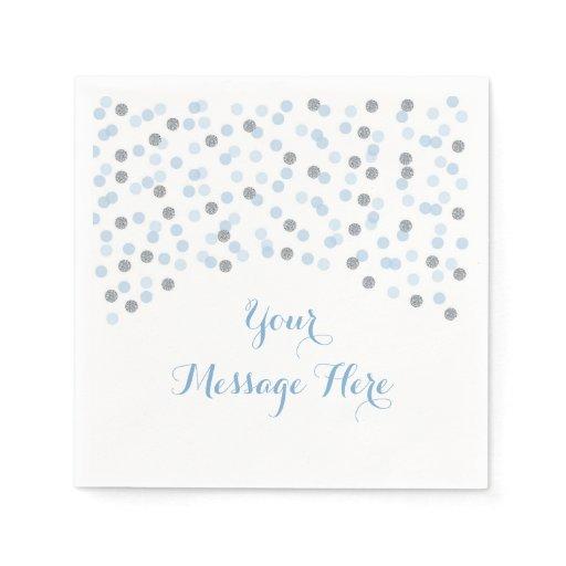 Baby Blue & Silver Confetti Baby Shower Paper Napkin