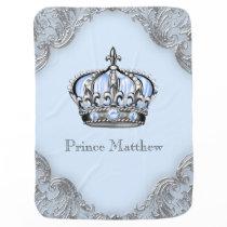 Baby Blue Silver Crown Prince Receiving Blanket