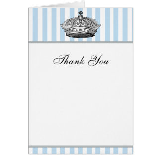 Baby Blue Silver Crown Prince Thank You Cards