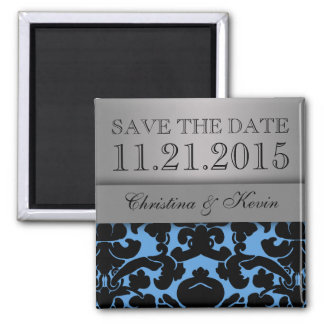 Baby Blue & Silver Luscious Damask Save the Date 2 Inch Square Magnet