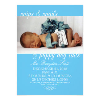 Baby Blue Snips & Snails Photo Birth Announcements