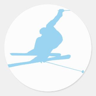 Baby Blue Snow Skiing Classic Round Sticker