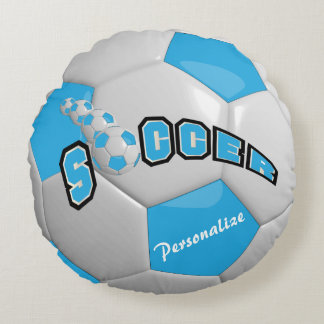 Baby Blue Soccer Ball | DIY Name Round Pillow