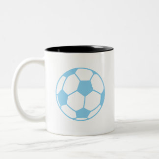 Baby Blue Soccer Ball Two-Tone Coffee Mug