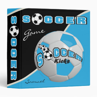 Baby Blue Soccerball Game | Personalize 3 Ring Binder