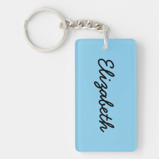 Baby Blue Solid Color Rectangular Acrylic Key Chain