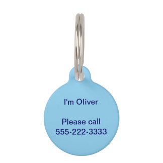 Baby Blue Solid Color Pet Name Tag