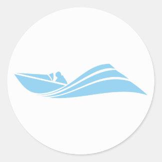 Baby Blue Speed Boat Classic Round Sticker