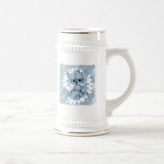 Baby Blue Spiral Smoke Teddy Bear Beer Stein