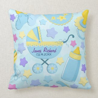 Baby Blue Stars and Carriage Keepsake Pillow