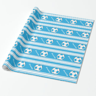Baby Blue Stripes Soccer Ball Wrapping Paper