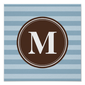 Baby Blue Stripes with Brown Monogram Poster