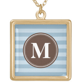 Baby Blue Stripes with Brown Monogram Square Pendant Necklace