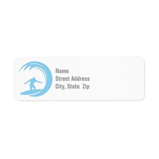 Baby Blue Surfing Return Address Labels