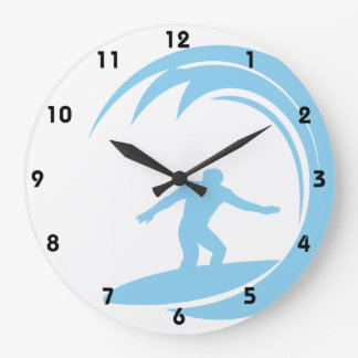 Baby Blue Surfing Large Clock
