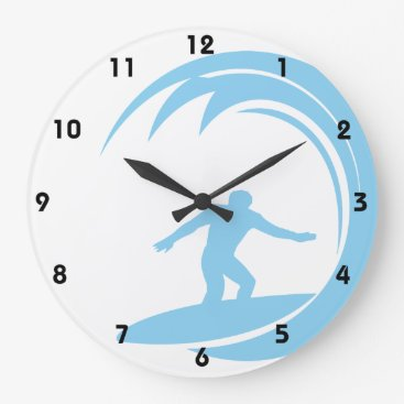 Toddler & Baby themed Baby Blue Surfing Large Clock