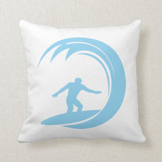 Baby Blue Surfing Throw Pillow