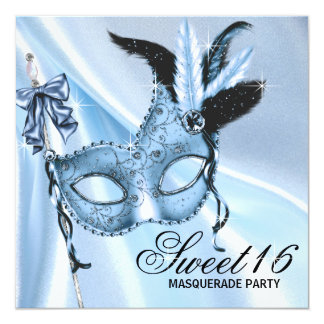 Baby Blue Sweet 16 Masquerade Party Personalized Announcements