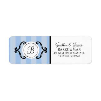 Baby Blue Sweet Charming Striped Personalized Label