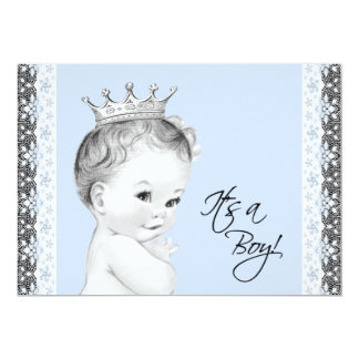 Baby Blue Sweet Little Prince Baby Shower Card