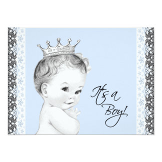 """Baby Blue Sweet Little Prince Baby Shower 5.5"""" X 7.5"""" Invitation Card"""