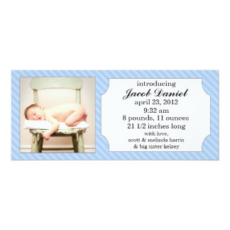 Baby Blue Sweet Stripes Photo Birth Announcements