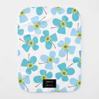 Baby Blue Sweet Whimsical Daisies Girl Burp Cloth