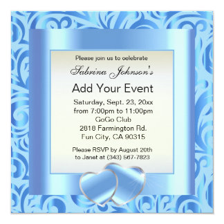 Baby Blue Swirly Party Template Design Card