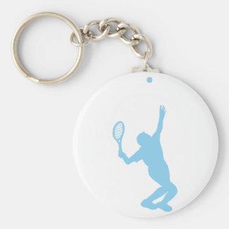 Baby Blue Tennis Basic Round Button Keychain