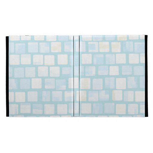 Baby Blue Tiled Block Mosaic Pattern iPad Folio Covers
