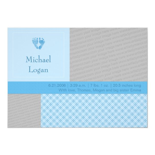 Baby Blue Tiny Prints Birth Announcement