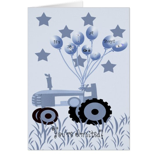 Baby Blue Tractor with Balloons Card