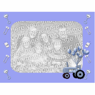 Baby Blue Tractor with Balloons Photo Sculpture