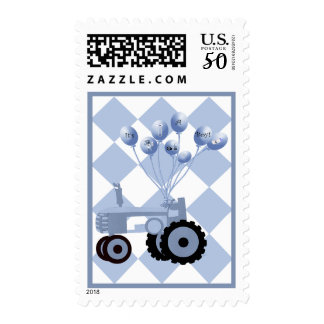 Baby Blue Tractor with Balloons Postage