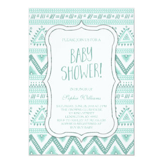Baby Blue Tribal Aztec Pattern Baby Shower Card