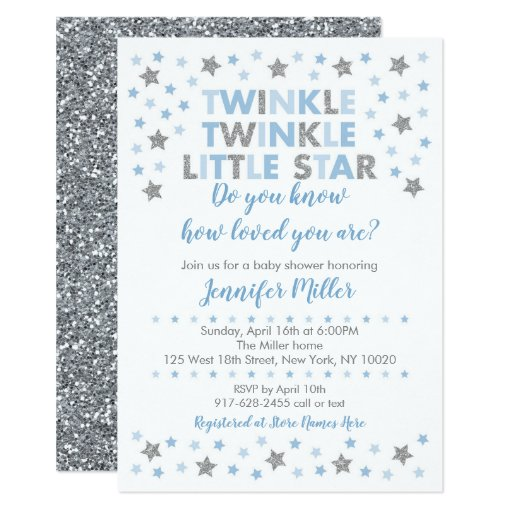 Baby Blue Twinkle Star Baby Shower Card