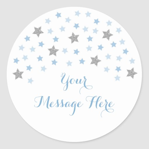 Baby Blue Twinkle Star Baby Shower Classic Round Sticker