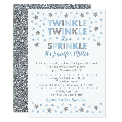 Baby Blue Twinkle Star Baby Sprinkle Card